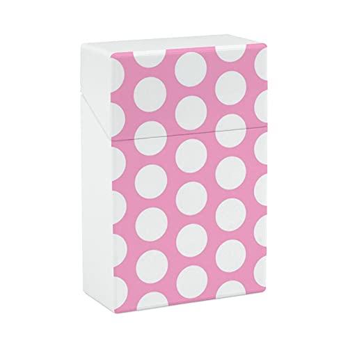 Círculos blancos sobre estuche de cigarrillo portátil de color rosa, caja de transporte ligera para hombres y mujeres