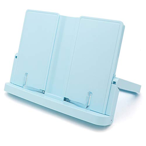 Adjustable Book Stand, Height and Angle Adjustable Ergonomic Book Holder with Page Paper Clips for Big Heavy Textbooks Music Books Tablet Cook Recipe Durable Lightweight Blue