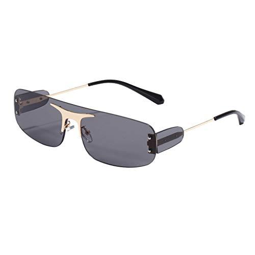 Baosity Gafas de Sol Cuadradas Sin Montura Rectangulares Moda para Mujer Sombras de Lentes Teñidas Al Aire Libre - Luz Gris