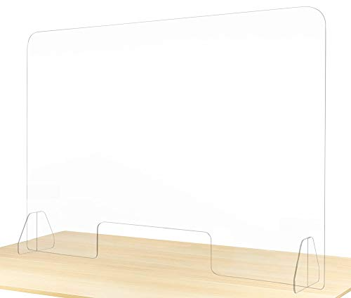 Sneeze Guard for Counter Plexiglass Barrier 48 x 32 Inch Wide Acrylic shields Clear View Portable Protective Plastic Stand for Cashier Protection at Reception Desk Nail Salon Table Desktop