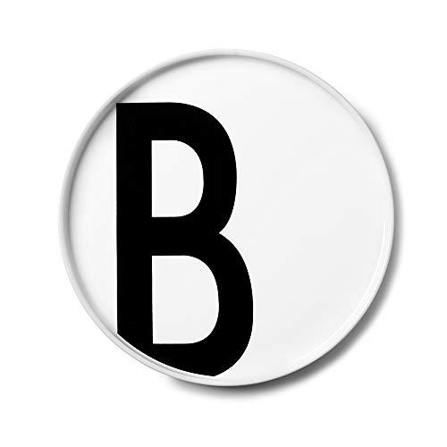 Design Letters Assiette Personnalisée en Blanc Porcelaine Fine de A-Z - B – Assiette Decorative, Idéal décorer, comme Cadeau Personnel, ou pour Les Repas, Compatible Lave-Vaisselle, D: 20cm