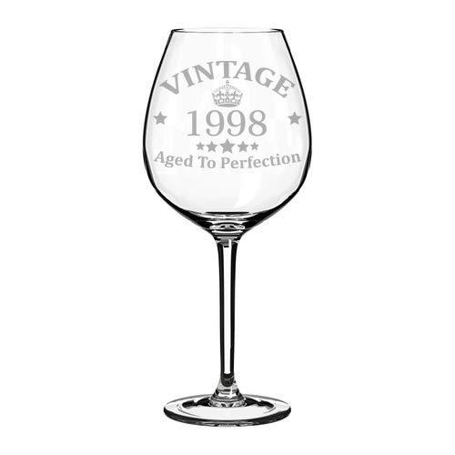 Weinglaskelch mit Lasergravur zum 21. Geburtstag, Vintage-Stil, 1998-325 ml