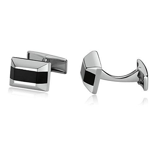 AnazoZ manchetknopen van roestvrij staal voor heren hemd manchetknopen cadeau zilver zwart trapeziumvormig 1,1 x 1,6 cm
