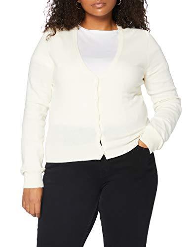 Amazon-Marke: MERAKI Baumwoll-Strickjacke Damen mit V-Ausschnitt, Elfenbein (Ivory), 34, Label: XS