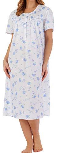 Slenderella Damen Sommer 112 cm lang, Blauer Blumendruck 100% leichte Baumwolle Kurzarm Nachthemd Knopf Oben Rundhals Größe Mittel 38/40