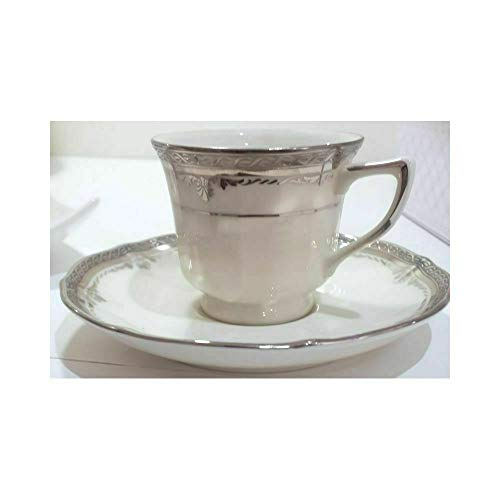 Noritake Stratford Platinum Kaffeetasse mit Untertasse aus Porzellan