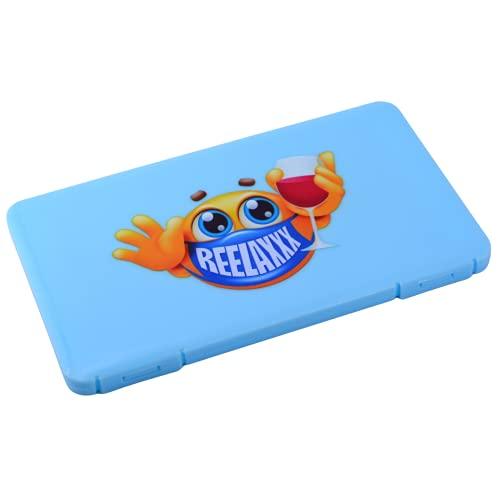 REELAXXX - Boite Rangement pour Masque Réutilisable et Jetable - Pochette Bijoux & Accessoires - Range Etui Plastique - Enfant - Ouverture Facile - Solide Ecole Voiture - Logo Verre Joyeux (Bleu)