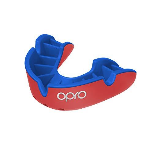 Opro Mundschutz Silver - Zahnschutz für Handball, Karate, Rugby, Hockey, Boxen, Lacrosse, American Football, Basketball - Selbst anformbar - im UK Entworfen & Hergestellt (Rot/Blau, Junior)
