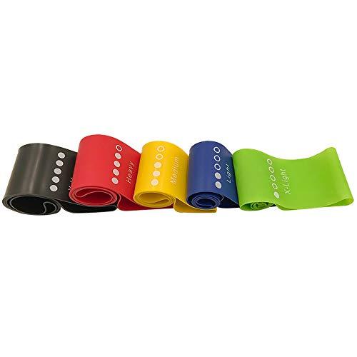Haihui Bandas de resistencia para el pecho, elásticas, para yoga, cinta de tensión; extraíbles, equipo de entrenamiento muscular, duradero, portátil, 5 colores, látex, cuerda de fitness