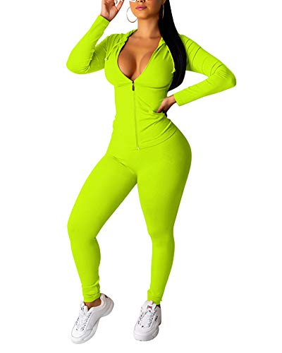Sexy Two Piece Outfits Long Sleeve Zipper Solid Color Jacket Bodycon Jumpsuit Neon Green S