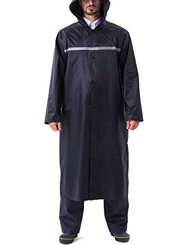 KEFITEVD Regenmantel Herren Männer Reißverschluss Wasserdicht Polyester Lang Regenjacke Weich Reflektorstreifen Polizei Stil Dienst Arbeit Jacke Sturmschutz Unifarben 02# Navy M (Etikett: XL)