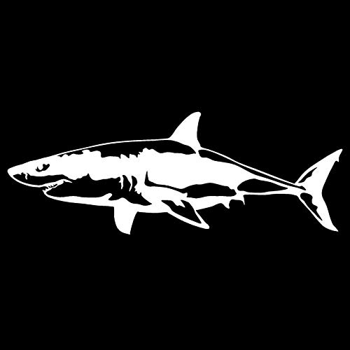 ZhuHZ 17.1 * 6.4CM Great White Shark Vinyl Decal Body Cover Scratch Animal Sticker Motorcycle Car Accessories-Silver