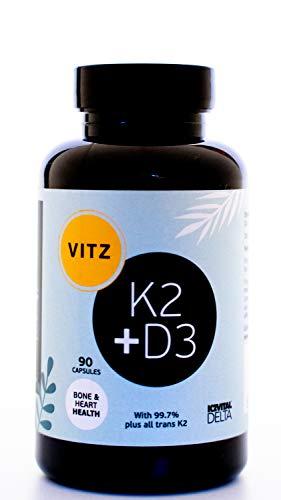 Vitamin D3 K2 Capsules - Vitamin D3 4000 IU and Vitamin K2 125 mcg (MK7) - 90 High Strength Vegetarian Capsules