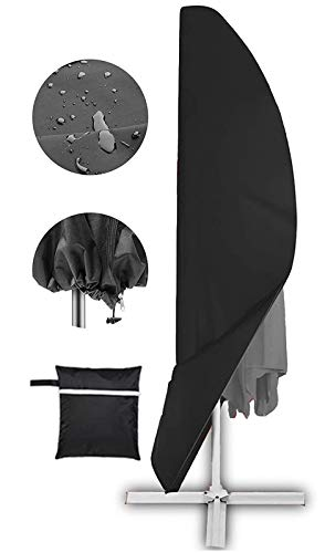 Offset Umbrella Cover, Patio Umbrella Cover for 9ft to 13ft Cantilever Parasol Outdoor Market Umbrellas Cover with Zipper and Water Resistant Fabric Dark