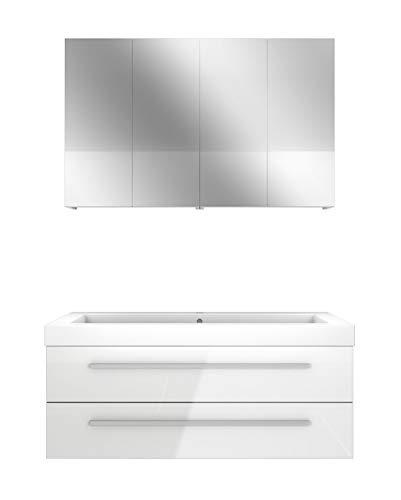 AcquaVapore Badmöbel Set City 101 V1 Hochglanz weiß, Badezimmermöbel, Waschtisch 120 cm NEIN ohne LED-Beleuchtung