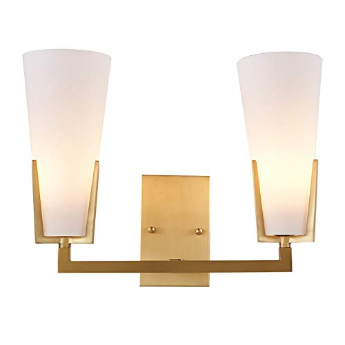 AZPINGPAN Iluminación de pared americana creativa, apliques de pared para decoración de muebles de cobre, lámpara de cabecera con pantalla de vidrio de dos cabezas, es adecuada para la sala estar, dor