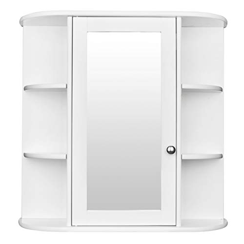 3-Tier Single Door Mirror Indoor Bathroom Wall Mounted Cabinet Shelf White Bathroom Mirror Cabinet, Chic Storage Cabinet Medicine Cabinet Furniture for Home Multipurpose