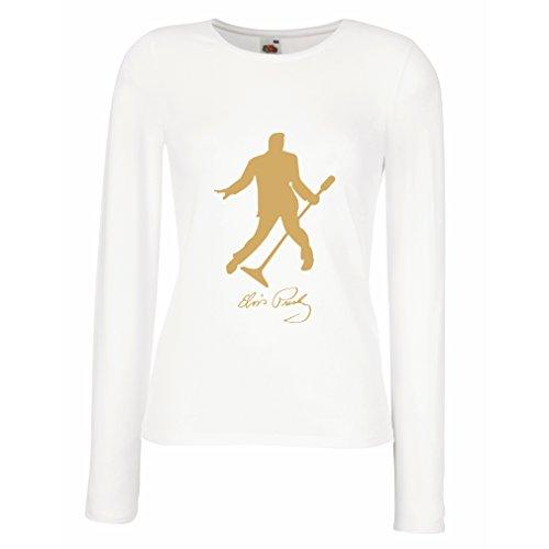lepni.me Camisetas de Manga Larga para Mujer Me Encanta el King of Rock and Roll, 50s, 60s, 70s, Music Fan (Large Blanco Oro)