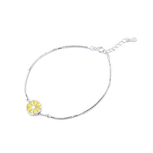 S&RL Damen Dekoratives Armband , S925 Sterling Silber Sommeraccessoires Weiblicher Modeschmuck Obst Gelbe Zitrone Armband,Gelb, 925 Silber