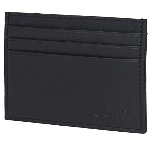 Eono by Amazon - Tarjetero de Cuero con Compartimento para Billetes para Mujer y Hombre con diseño Plano y protección contra Lectura RFID (Cuero napa Vacuno Negro)