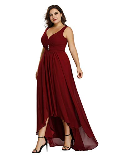 Ever-Pretty Talla Grande Vestido de Fiesta Cuello en V Alta Baja Gasa sin Mangas para Mujer Borgoña 38
