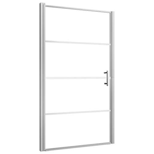 UnfadeMemory Puerta para Cabina de Ducha Industrial,Puerta de Ducha,Decoración de Baño (Transparente Vidrio y Plateado, 100x178cm)