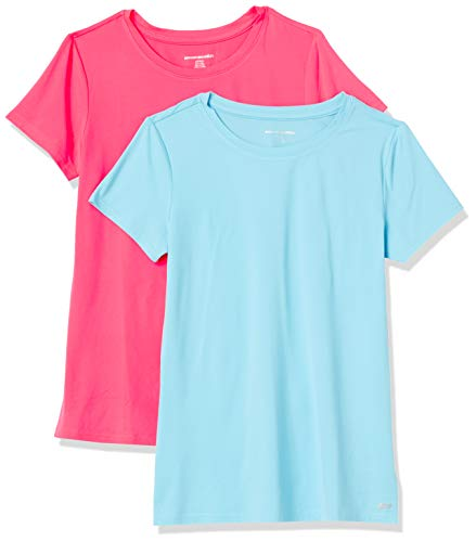 Amazon Essentials 2-Pack Tech Stretch Short-Sleeve Crew T-Shirt fashion-t-shirts, Blue Topaz/Neon Pink, US M (EU M - L)