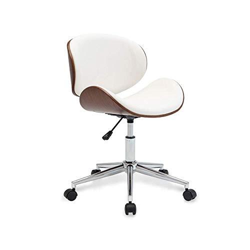 NAN liang Fauteuil de bureau exécutif pour ordinateur de bureau pivotant à 360 ° avec chaise de conférence réglable en hauteur, siège en polyuréthane (noir, blanc) (Couleur : Blanc)