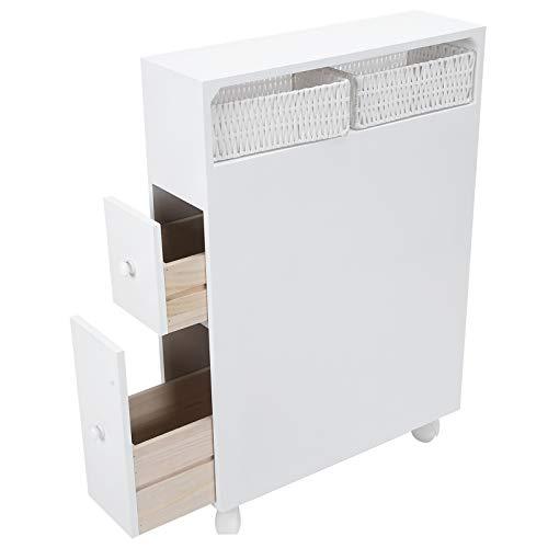 FECAMOS Blanco Estilo simplista 19.7x28.3x6.3in Taquilla de Inodoro de Nailon Tablero de Densidad del gabinete de baño para artículos de tocador para periódicos para revistas