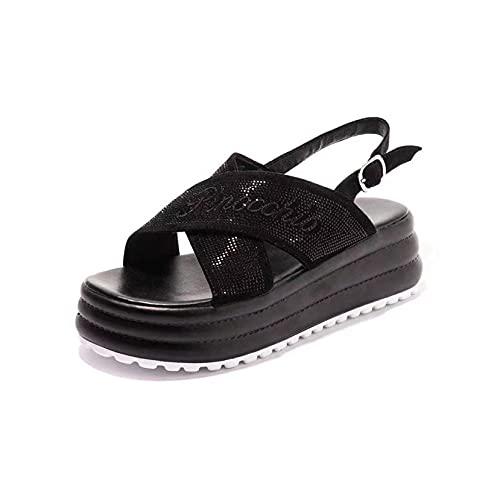 Sandalias de plataforma para mujer, correa de hebilla de tobillo, antideslizante, puntera abierta, impermeables, para verano, Black, 38 EU
