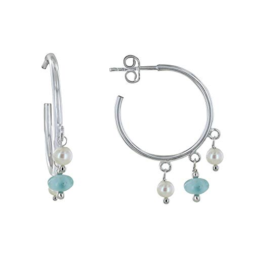 Les Poulettes Jewels - Sterling Silver Earrings Creoles Charms Cultured Pearls and Larimar