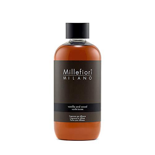 Millefiori 7REMDV Vanilla und Wood Nachfüllflasche 250 ml für Natural Raumduft Diffuser, Plastik, Braun, 6 x 5.5 x 13.7 cm, 1 Einheiten