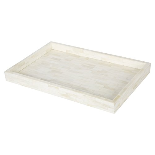 Handicrafts Home White Ottoman Tray - Serving Decorative Tray - 11x17 Inches