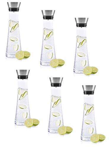 BeBuy24 6X Wasserkaraffe Glas (1 Liter) - Glaskaraffe mit Deckel und Ausgießer, Wasserflasche Glas und Edelstahl, Karaffe für Wasser, Wein & Co