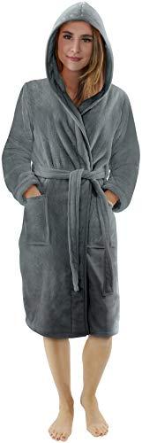NY Threads Lujo Bata de Forro con Capucha para Mujer - Batas De Estar En Casa de Súper Suave (Large, Gris Acero)