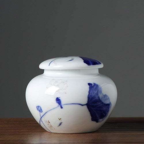Vaso di porcellana,Canister de thé,Coffres de stockage de thé,Service à thé Bleu Céramique domestique de tea pot-F