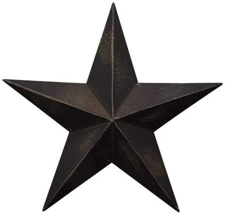 Rainbow Handcrafts Rustic Metal 3D Barn Star Patriotic Wall Decor Vintage Wall Star Country Primitive Home Decor July 4th Country Americana Patriotic Wall Ornament,Outdoor Decoration 8 Inches (Black)