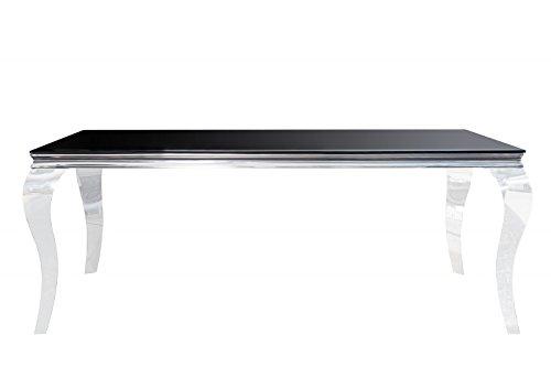 Dolsofa - Mesa de comedor moderna barroca, 180 cm, color negro