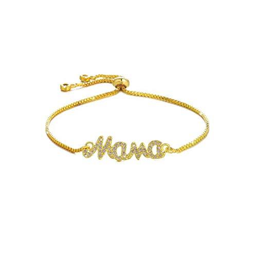 HMANE Moda DIY Charm Bracelet Jewelry Cubic Zirconia Mama Mom Link Pulseras de Cadena Ajustables para Mujeres para Regalos del Día de la Madre