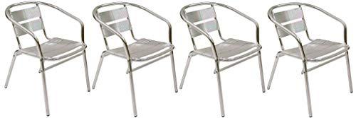 SF SAVINO FILIPPO 4 sillas de bar de aluminio antioxidante, apilables, para exterior, interior, Cate