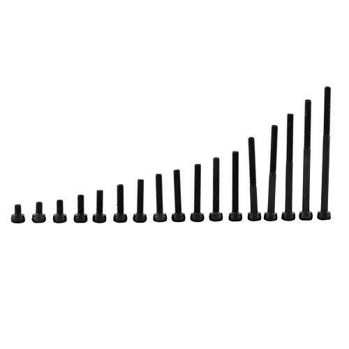 Juego de tornillos de cabeza hexagonal M3 Tornillo de cabeza hexagonal de grado 12,9 Juego de surtido de sujetadores de máquina métrica de acero al carbono negro 4-50 mm(M3*50mm(partially-threaded))