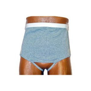 8093206LR - Mens Wrap/Brief with Open Crotch and Built-in Ostomy Barrier/Support Gray, Right-Side Stoma, Large 40-42