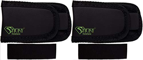 STICKY HOLSTERS - Super Mag Pouch - Concealed Double Stack Ammunition Magazine Single Pouch for Extra Ammunition ( 2 Pack, Black )