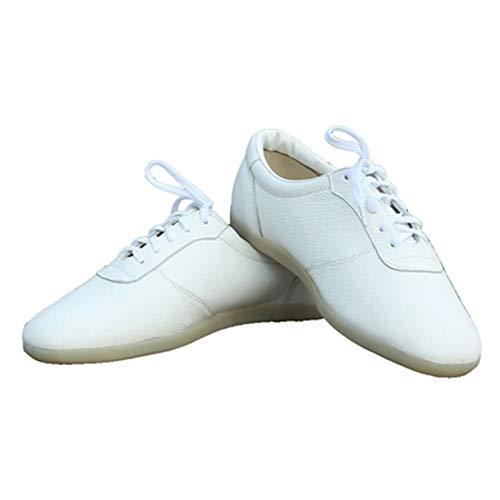 RUIMI Zapatos De Tai Chi De Cuero De Otoño E Invierno, Cuero Suave De Piel De Vaca con Fondo De Tendón, Zapatos Deportivos De Boxeo De Tai Chi para Hombres Y MujeresWhite-43
