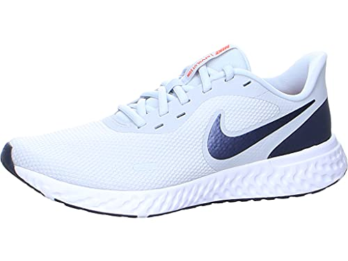 Nike Revolution 5, Running Shoe Hombre, Pure Platinum/Thunder Blue-Chile Red, 39 EU