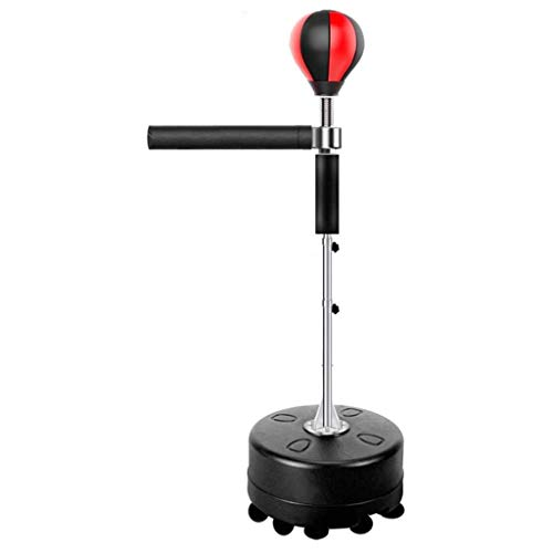 LH Ständer freistehend Schwerer Boxsack mit 360 ° Reflex Bar, Einstellbarer Box Speed Ball for Erwachsene und Kinder, Stark Saugfuß, bewegliches Trainingsziel Spinning Bar (Farbe : Schwarz)