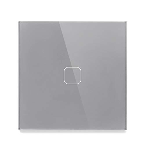 HLIANG Conmutador 2 PCS Interruptor táctil de luz de Cristal de Cristal Blanco de Lujo estándar de 2 Piezas, 1 Interruptor táctil de Gang 1 Way 050 (Color : 1 Gang Square Gray)