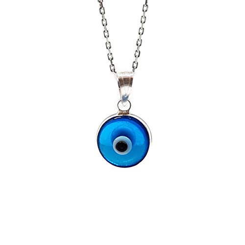 MYSTIC JEWELS by Dalia - Halskette böses Auge aus Kristall für das Glück - 925 Sterling Silber - Kette 40 bis 45 cm Länge für Weihnachten, Hochzeit, Valentinstag (Hellblau)