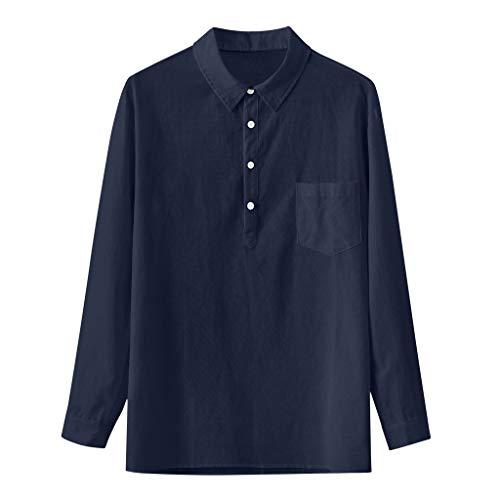 TAMALLU Herren Hemden Baumwolle Leinen Einfarbig Tasche Polo Männer Tee Umlegekragen Bluse Tops(Marine,L(L))