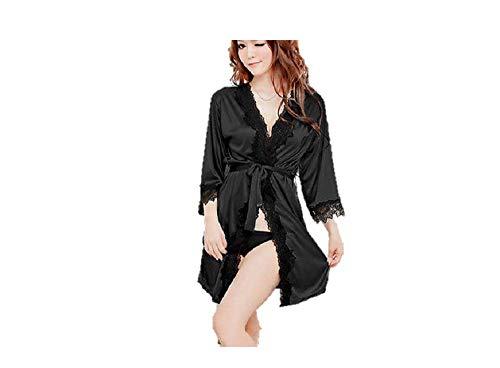 Ropa de Dormir Kimono de Encaje Sexy Ropa de Noche de satén de Seda Bata de baño G de Cuerda (Corto (75cm), Negro)